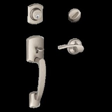 Schlage - Greenwich Style One side keyed Handleset with Merano Lever